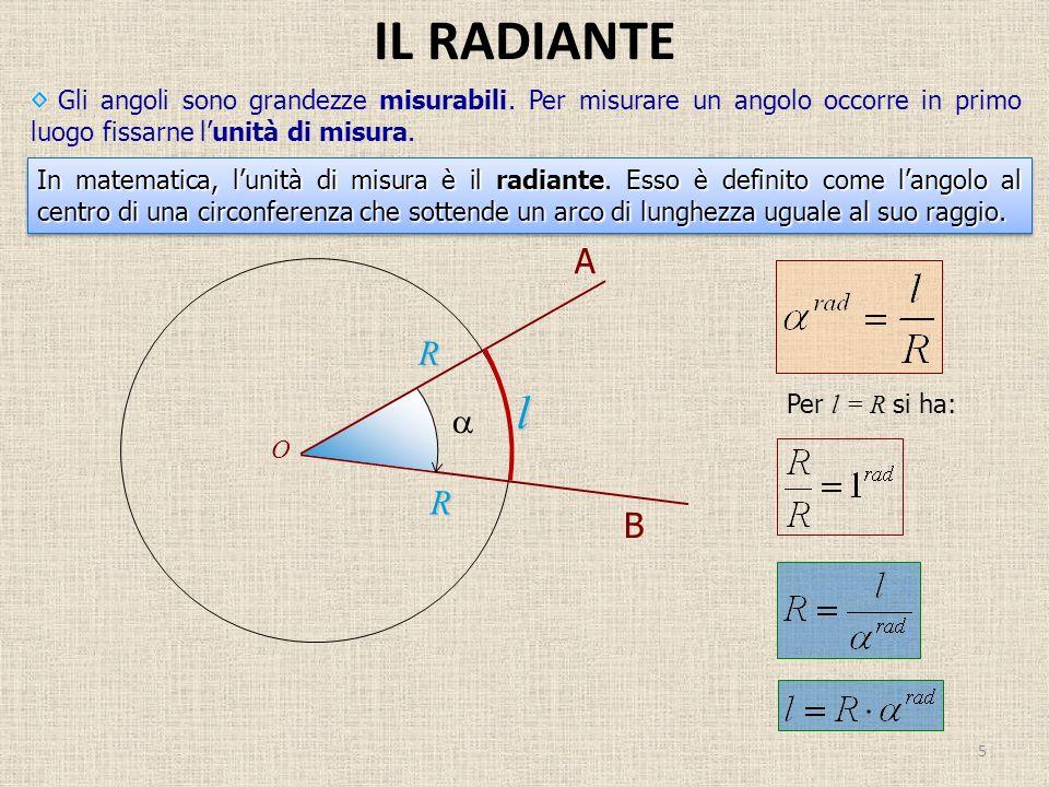 IL RADIANTE 5 Gli angoli sono grandezze misurabili. Per misurare un angolo occorre in primo luogo fissarne lunità di misura. In matematica, lunità di