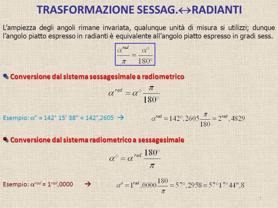 TRASFORMAZIONE SESSAG. RADIANTI 7 Conversione dal sistema sessagesimale a radiometrico Conversione dal sistema sessagesimale a radiometrico Conversion