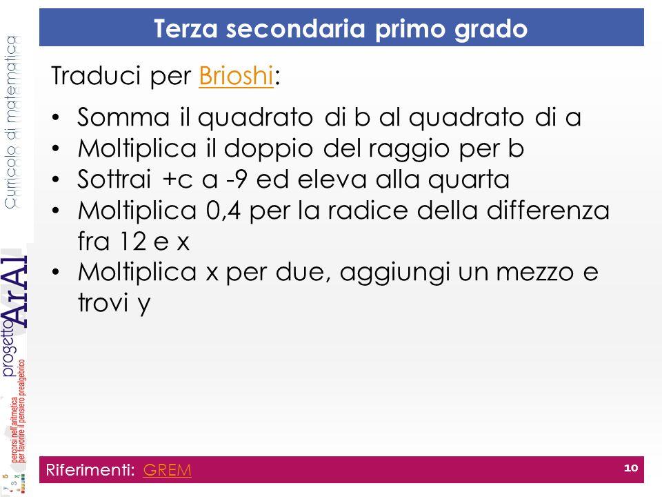 Terza secondaria primo grado Riferimenti: GREMGREM 10 Traduci per Brioshi:Brioshi Somma il quadrato di b al quadrato di a Moltiplica il doppio del rag
