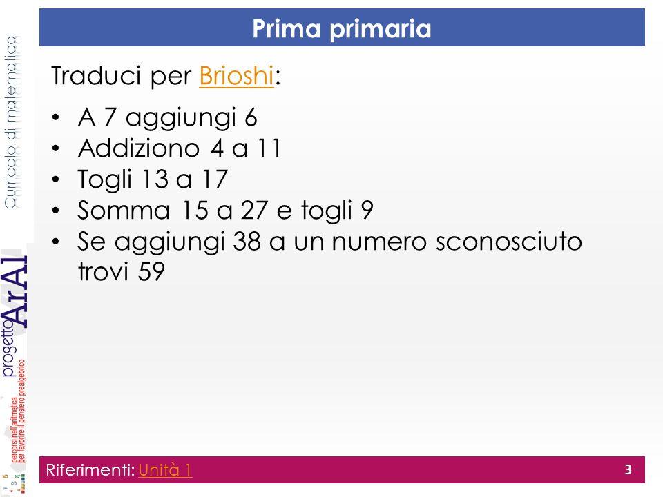 Prima primaria Traduci per Brioshi:Brioshi A 7 aggiungi 6 Addiziono 4 a 11 Togli 13 a 17 Somma 15 a 27 e togli 9 Se aggiungi 38 a un numero sconosciut