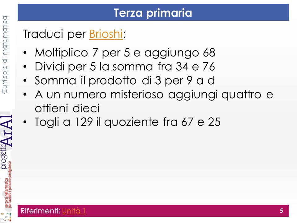 Terza primaria Riferimenti: Unità 1Unità 1 5 Traduci per Brioshi:Brioshi Moltiplico 7 per 5 e aggiungo 68 Dividi per 5 la somma fra 34 e 76 Somma il p