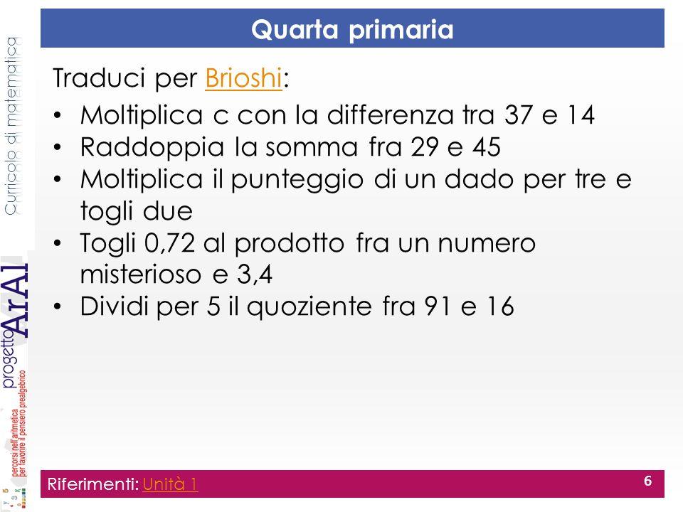 Quarta primaria Traduci per Brioshi:Brioshi Moltiplica c con la differenza tra 37 e 14 Raddoppia la somma fra 29 e 45 Moltiplica il punteggio di un da