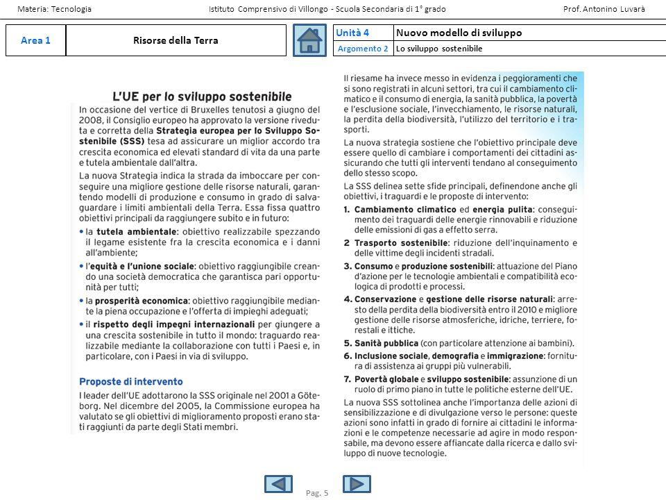 Risorse della TerraArea 1 Nuovo modello di sviluppoUnità 4 Materia: Tecnologia Istituto Comprensivo di Villongo - Scuola Secondaria di 1° grado Prof.