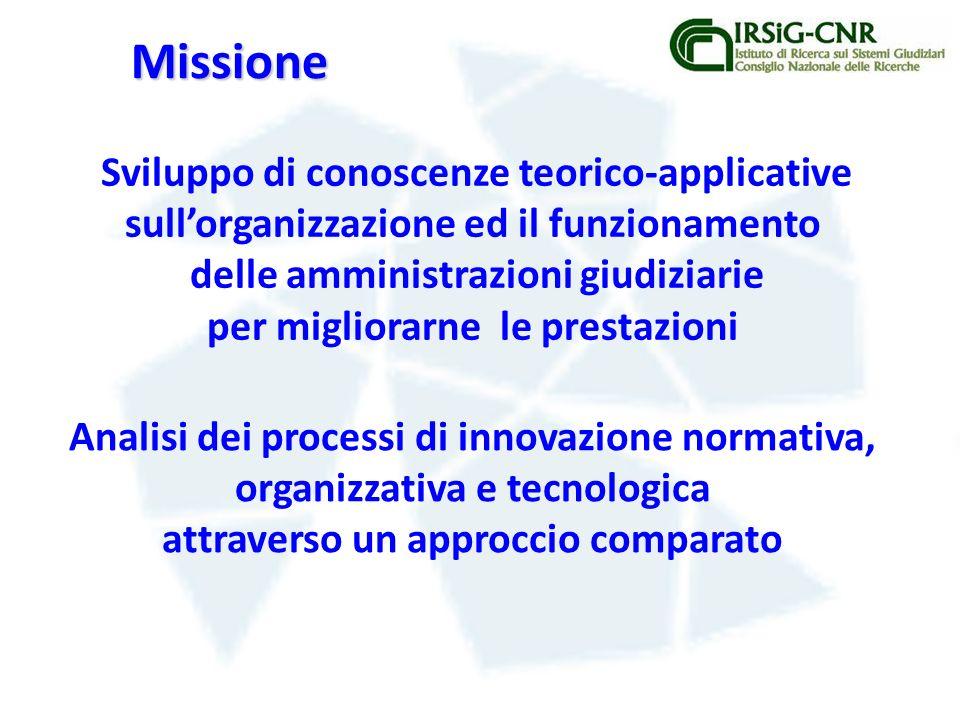 Missione Sviluppo di conoscenze teorico-applicative sullorganizzazione ed il funzionamento delle amministrazioni giudiziarie per migliorarne le prestazioni Analisi dei processi di innovazione normativa, organizzativa e tecnologica attraverso un approccio comparato