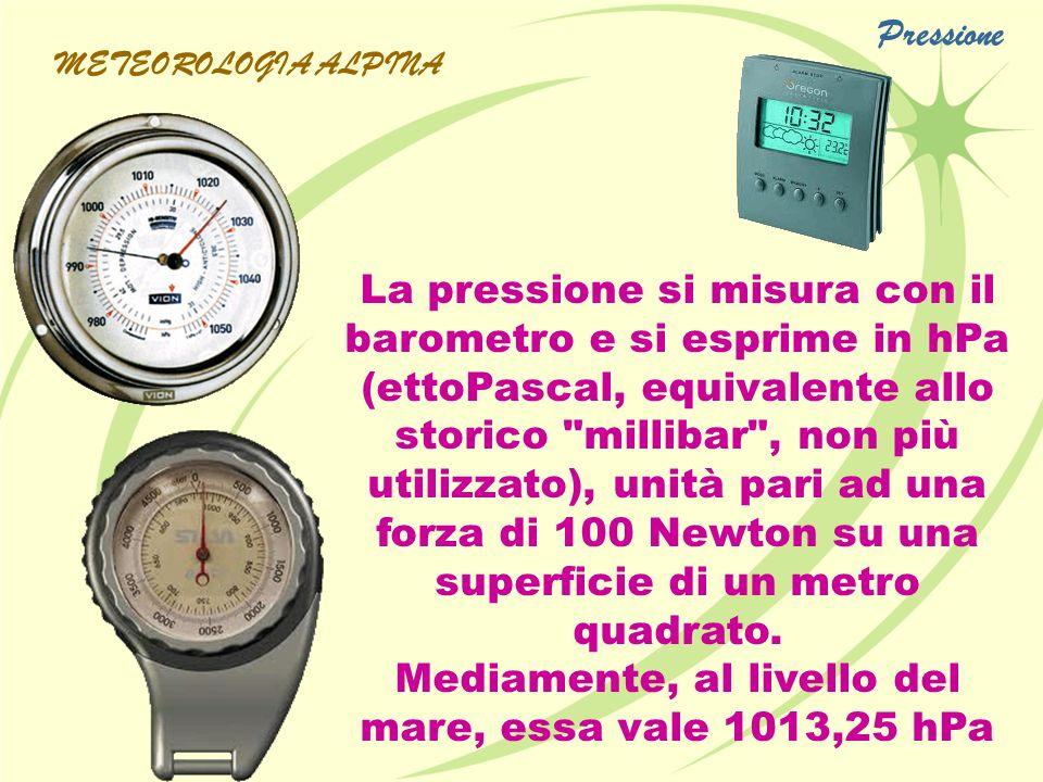 La pressione si misura con il barometro e si esprime in hPa (ettoPascal, equivalente allo storico