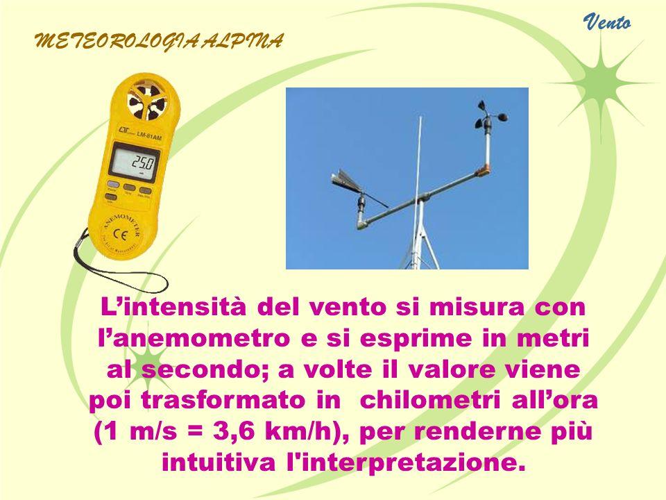 Lintensità del vento si misura con lanemometro e si esprime in metri al secondo; a volte il valore viene poi trasformato in chilometri allora (1 m/s =