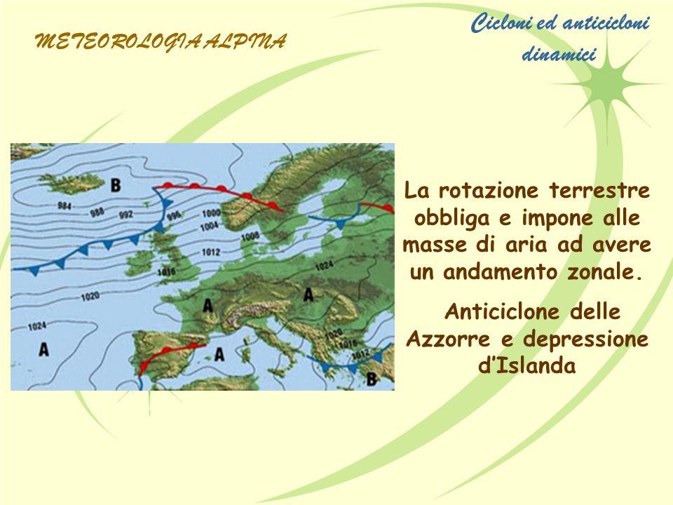 La rotazione terrestre obbliga e impone alle masse di aria ad avere un andamento zonale. Anticiclone delle Azzorre e depressione dIslanda METEOROLOGIA