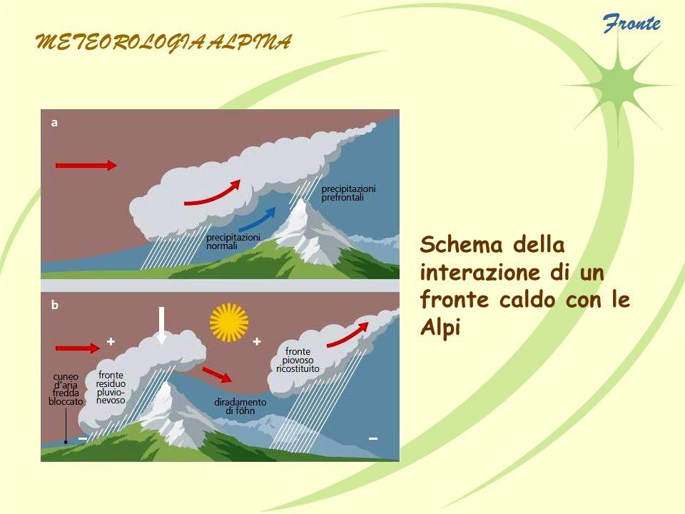 Schema della interazione di un fronte caldo con le Alpi METEOROLOGIA ALPINA Fronte