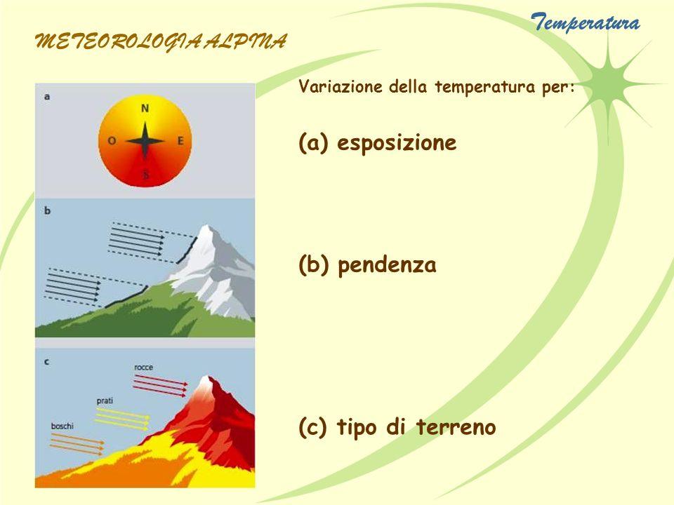 Andamento tipico della temperatura durante una giornata soleggiata e una con il cielo coperto Andamento diurno medio della temperatura in una stazione di pianura ed in una in vetta METEOROLOGIA ALPINA Temperatura