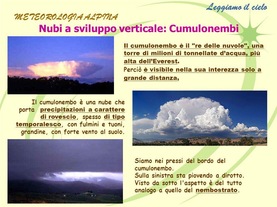 Nubi a sviluppo verticale: Cumulonembi Il cumulonembo è il