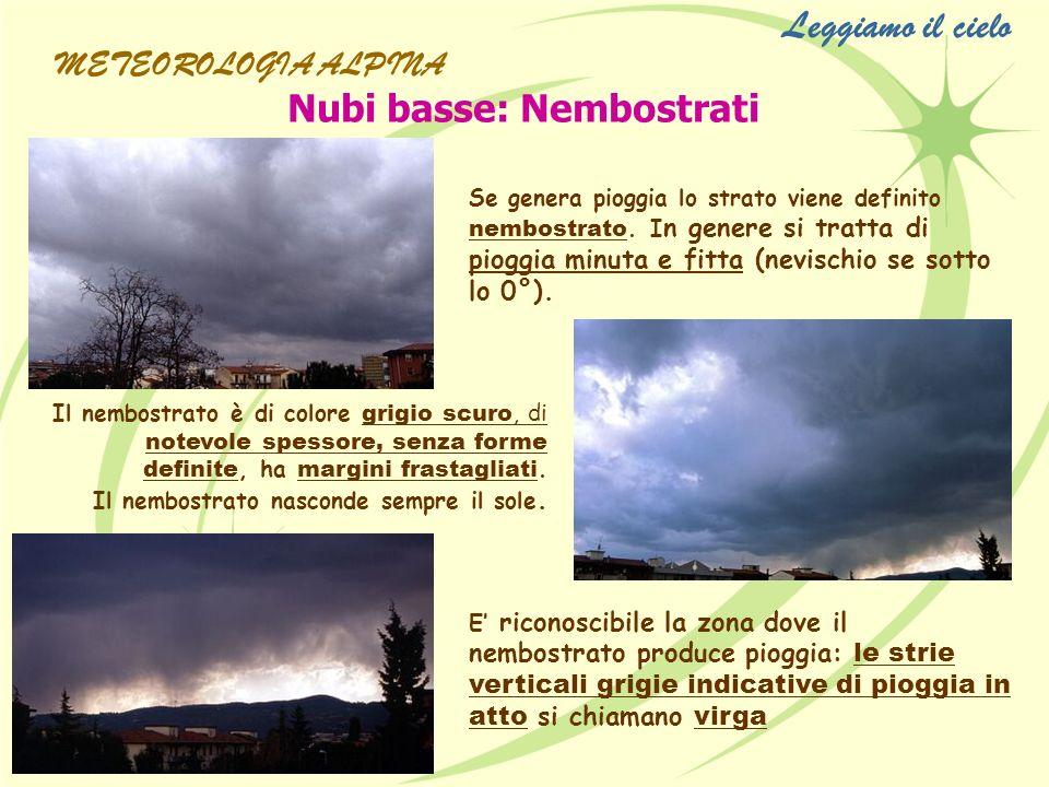Nubi basse: Nembostrati Se genera pioggia lo strato viene definito nembostrato. I n genere si tratta di pioggia minuta e fitta (nevischio se sotto lo