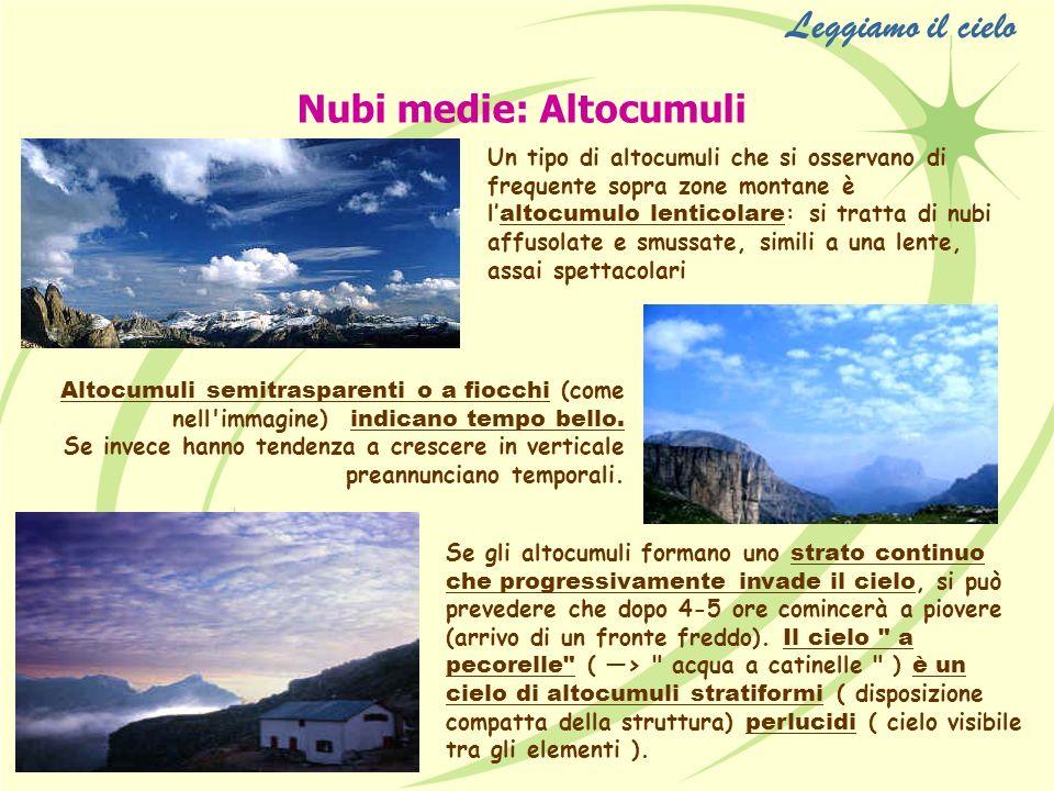 Nubi medie: Altocumuli Un tipo di altocumuli che si osservano di frequente sopra zone montane è l altocumulo lenticolare : si tratta di nubi affusolat