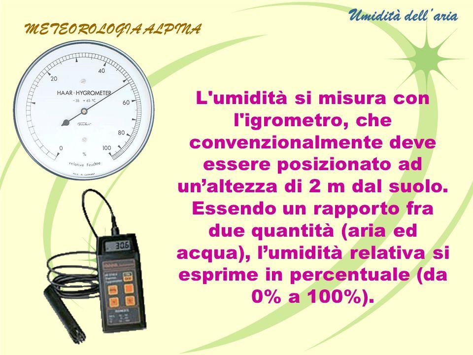 L'umidità si misura con l'igrometro, che convenzionalmente deve essere posizionato ad unaltezza di 2 m dal suolo. Essendo un rapporto fra due quantità