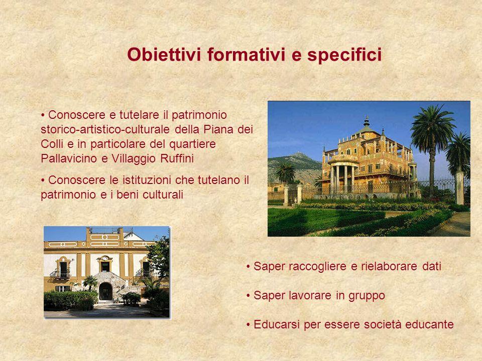 Obiettivi formativi e specifici Conoscere e tutelare il patrimonio storico-artistico-culturale della Piana dei Colli e in particolare del quartiere Pa