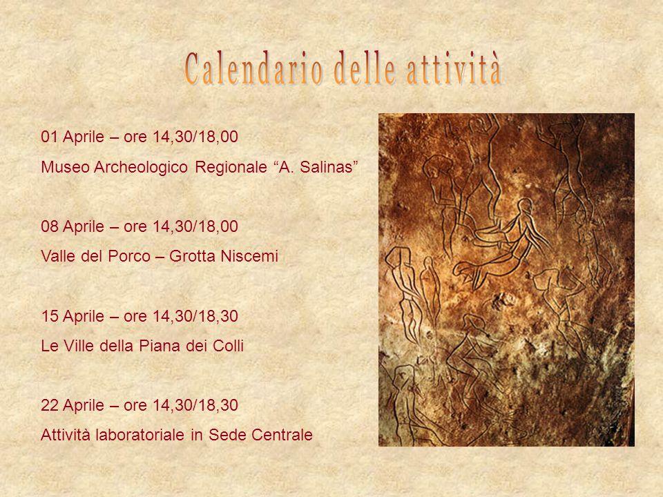 01 Aprile – ore 14,30/18,00 Museo Archeologico Regionale A. Salinas 08 Aprile – ore 14,30/18,00 Valle del Porco – Grotta Niscemi 15 Aprile – ore 14,30
