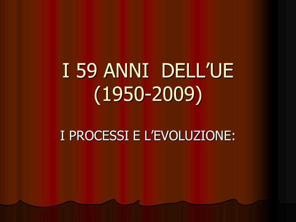 I 59 ANNI DELLUE (1950-2009) I PROCESSI E LEVOLUZIONE: