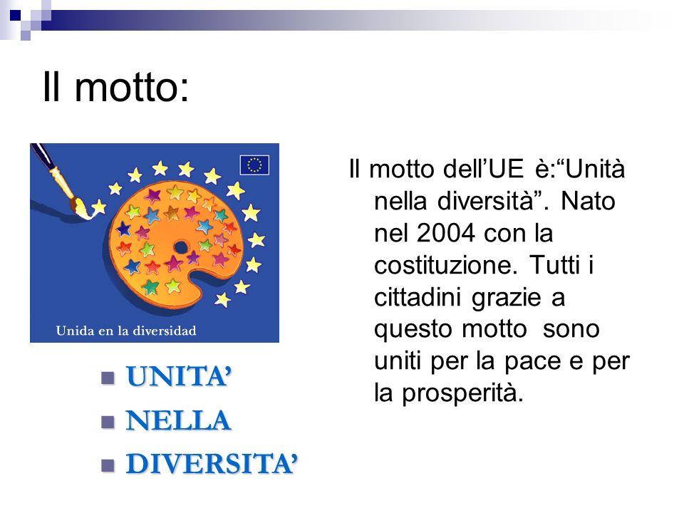 Il motto: Il motto dellUE è:Unità nella diversità. Nato nel 2004 con la costituzione. Tutti i cittadini grazie a questo motto sono uniti per la pace e