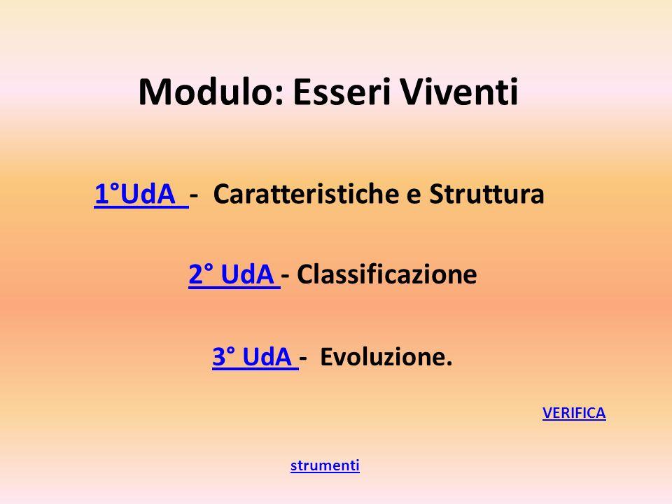 Modulo: Esseri Viventi 1°UdA - Caratteristiche e Struttura 1°UdA 3° UdA 3° UdA - Evoluzione. 2° UdA 2° UdA - Classificazione strumenti VERIFICA