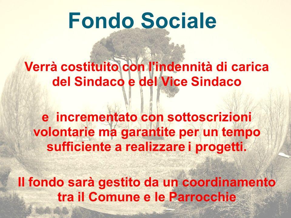 Fondo Sociale Verrà costituito con l'indennità di carica del Sindaco e del Vice Sindaco e incrementato con sottoscrizioni volontarie ma garantite per