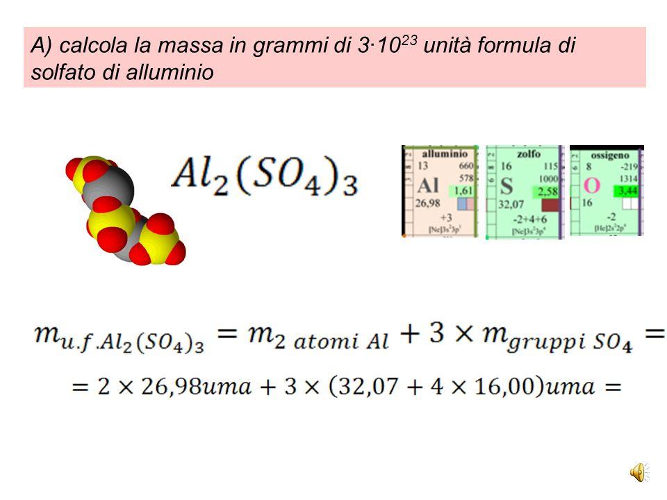 0) calcola la massa in uma di una molecola di ammoniaca a partire dai PA e converti in grammi: NH 3