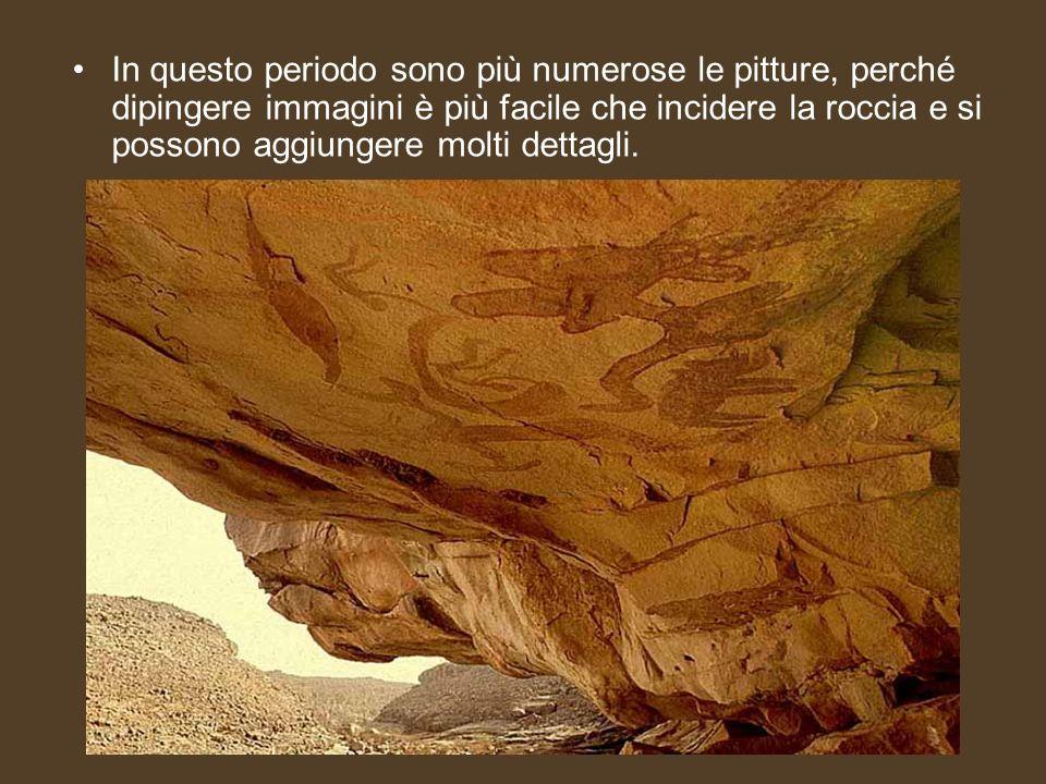 In questo periodo sono più numerose le pitture, perché dipingere immagini è più facile che incidere la roccia e si possono aggiungere molti dettagli.