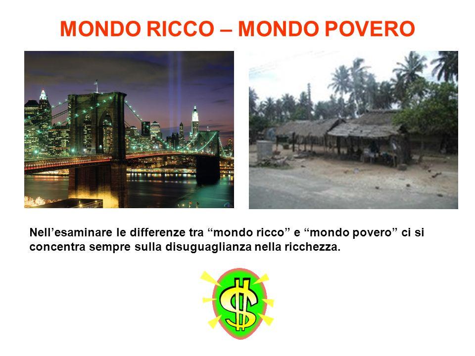 MONDO RICCO – MONDO POVERO Nellesaminare le differenze tra mondo ricco e mondo povero ci si concentra sempre sulla disuguaglianza nella ricchezza.