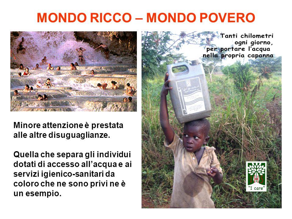 MONDO RICCO – MONDO POVERO Minore attenzione è prestata alle altre disuguaglianze. Quella che separa gli individui dotati di accesso allacqua e ai ser
