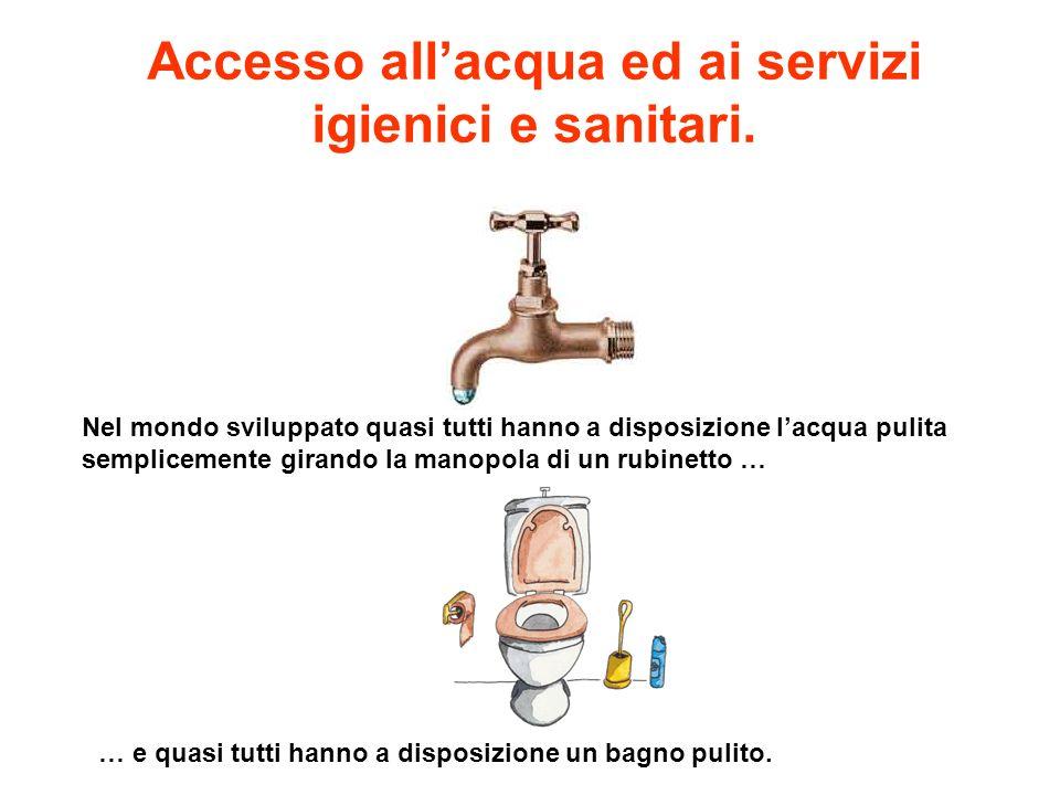 Nel mondo sviluppato quasi tutti hanno a disposizione lacqua pulita semplicemente girando la manopola di un rubinetto … Accesso allacqua ed ai servizi