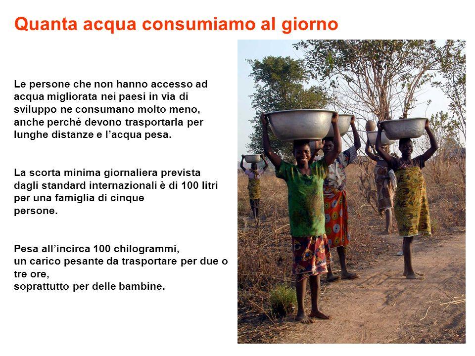 Le persone che non hanno accesso ad acqua migliorata nei paesi in via di sviluppo ne consumano molto meno, anche perché devono trasportarla per lunghe