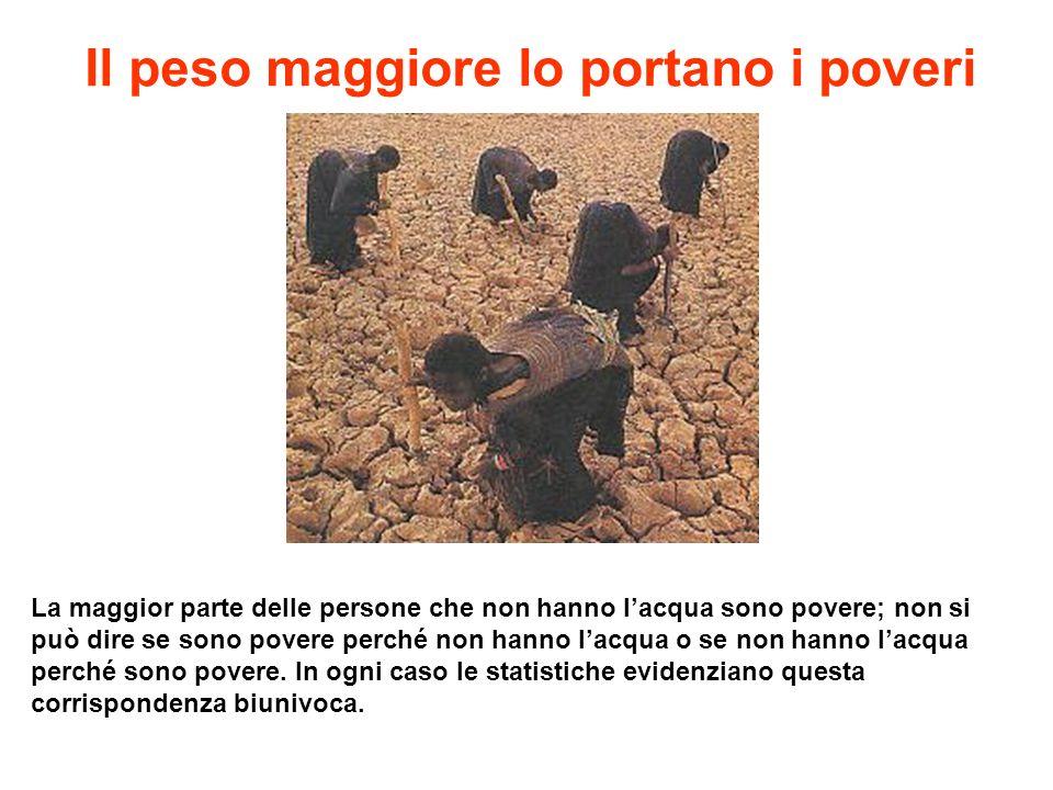 Il peso maggiore lo portano i poveri La maggior parte delle persone che non hanno lacqua sono povere; non si può dire se sono povere perché non hanno