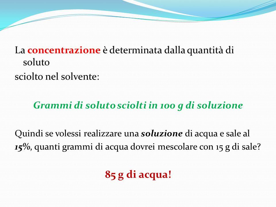 La concentrazione è determinata dalla quantità di soluto sciolto nel solvente: Grammi di soluto sciolti in 100 g di soluzione Quindi se volessi realiz