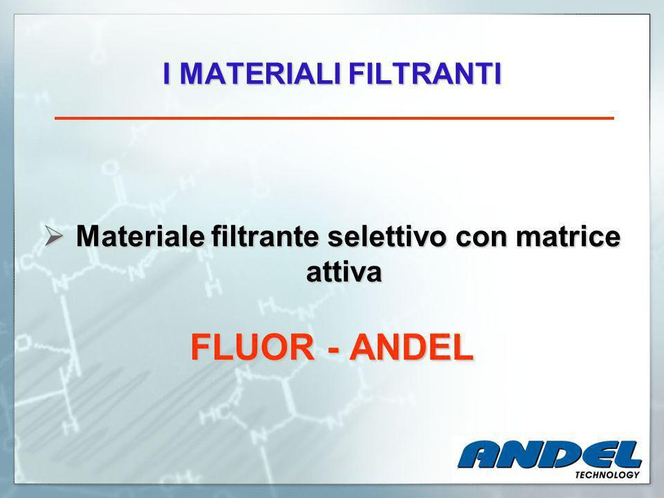 I MATERIALI FILTRANTI Materiale filtrante selettivo con matrice attiva Materiale filtrante selettivo con matrice attiva FLUOR - ANDEL