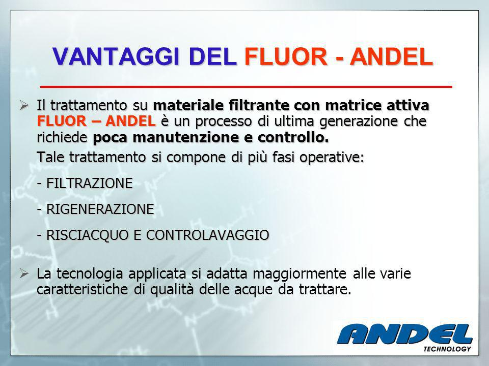 VANTAGGI DEL FLUOR - ANDEL Il trattamento su materiale filtrante con matrice attiva FLUOR – ANDEL è un processo di ultima generazione che richiede poca manutenzione e controllo.