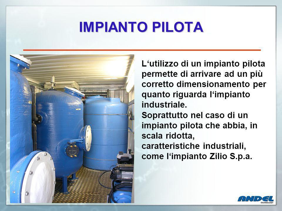 IMPIANTO PILOTA Lutilizzo di un impianto pilota permette di arrivare ad un più corretto dimensionamento per quanto riguarda limpianto industriale.