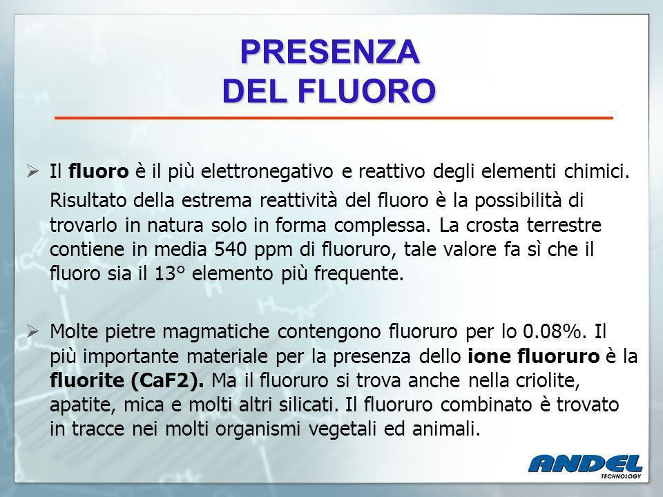 Recentemente, la nuova normativa relativa al valore massimo consentito nelle acqua potabile per quanto riguarda la presenza di fluoro ha fissato il seguente limite: Limite massimo accettabile (LMA) D.Lgs 31/01 1,5 mg/lt TRATTAMENTO DI ABBATTIMENTO DEL FLUORO DALLE ACQUE POTABILI DA SOTTOSUOLO Molti siti di adduzione di acqua ad uso potabile soprattutto nel nord e nel centro Italia superano regolarmente il limite di legge per quanto riguarda il parametro fluoro.