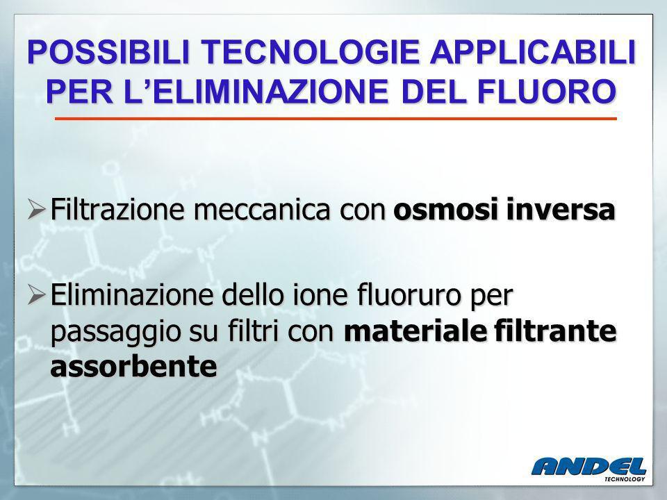 POSSIBILI TECNOLOGIE APPLICABILI PER LELIMINAZIONE DEL FLUORO Filtrazione meccanica con osmosi inversa Filtrazione meccanica con osmosi inversa Eliminazione dello ione fluoruro per passaggio su filtri con materiale filtrante assorbente Eliminazione dello ione fluoruro per passaggio su filtri con materiale filtrante assorbente
