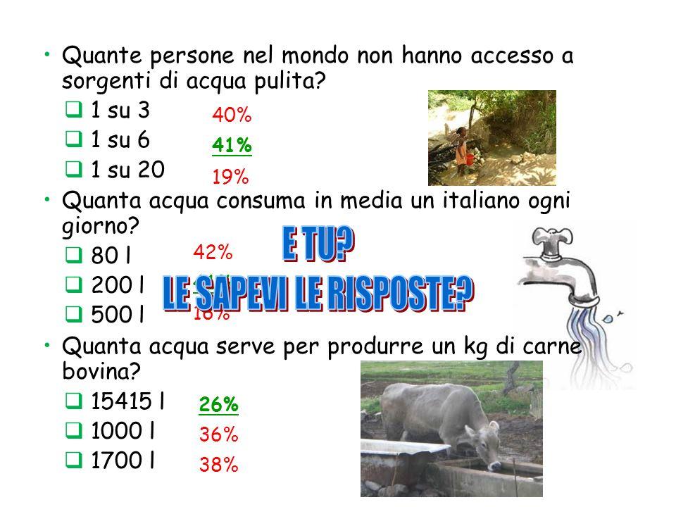Quante persone nel mondo non hanno accesso a sorgenti di acqua pulita? 1 su 3 1 su 6 1 su 20 Quanta acqua consuma in media un italiano ogni giorno? 80