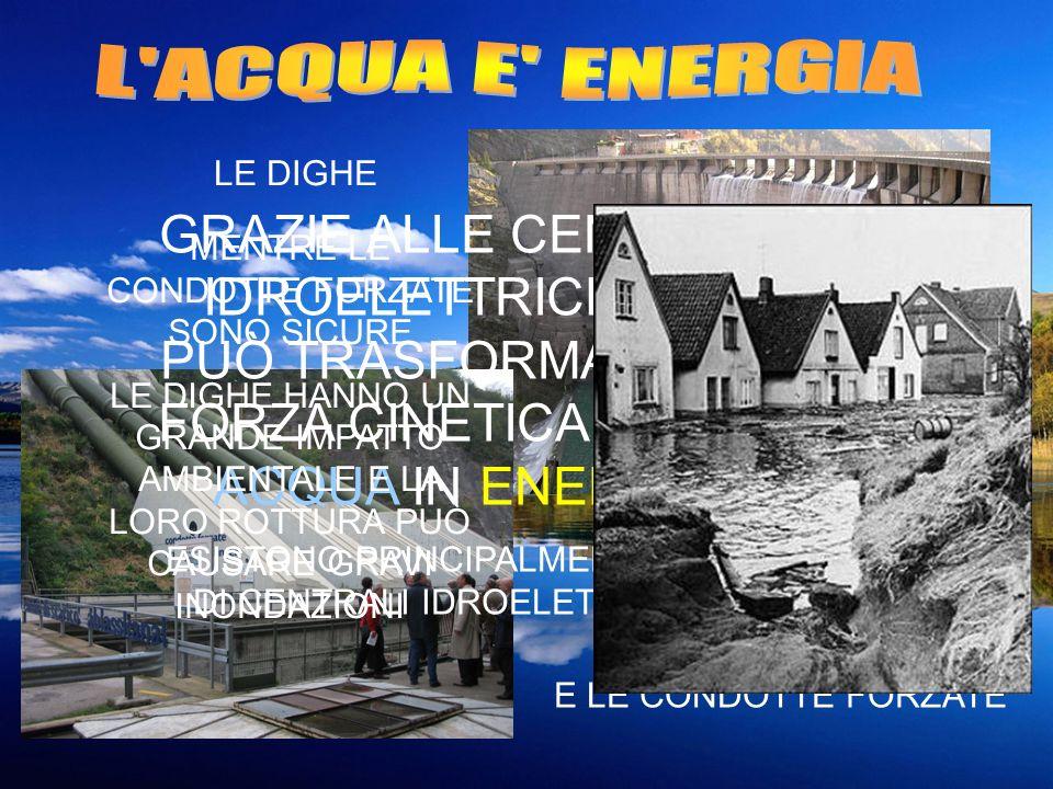 GRAZIE ALLE CENTRALI IDROELETTRICHE SI PUÒ TRASFORMARE LA FORZA CINETICA DELLA ACQUA IN ENERGIA ESISTONO PRINCIPALMENTE 2 TIPI DI CENTRALI IDROELETTRI