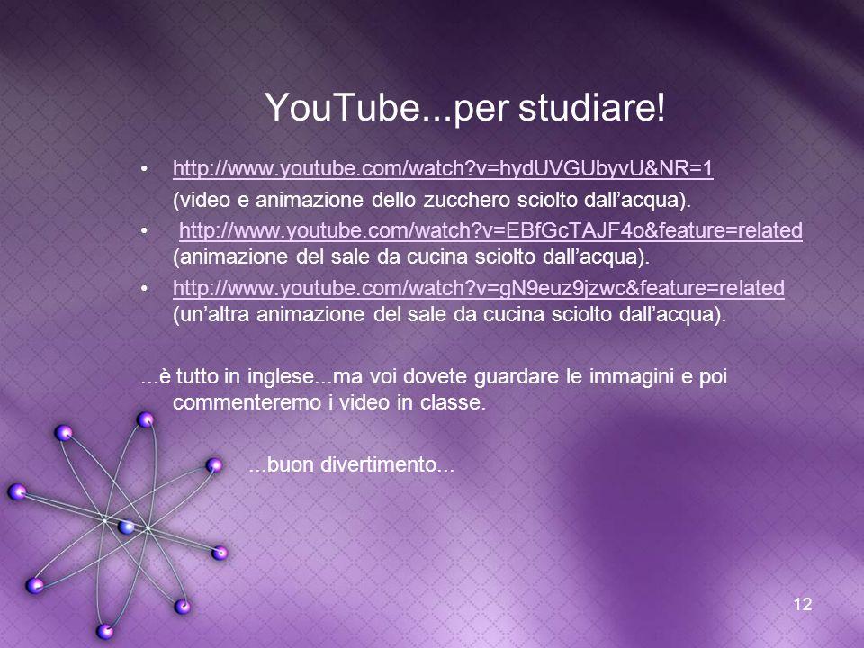 12 YouTube...per studiare! http://www.youtube.com/watch?v=hydUVGUbyvU&NR=1 (video e animazione dello zucchero sciolto dallacqua). http://www.youtube.c