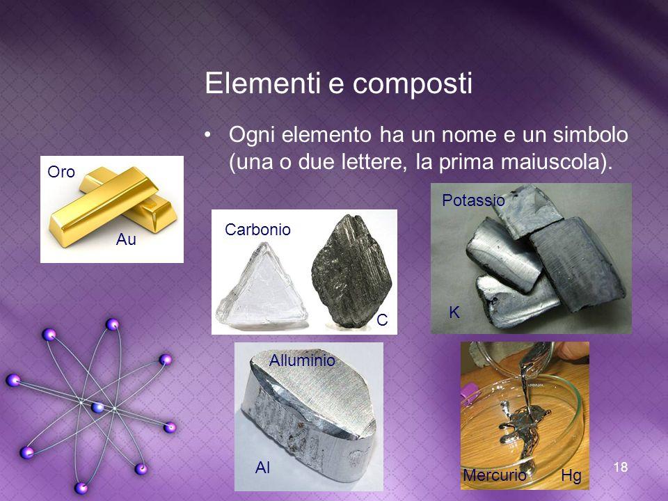 18 Elementi e composti Ogni elemento ha un nome e un simbolo (una o due lettere, la prima maiuscola). Au Oro Carbonio C Potassio K Alluminio Al Mercur