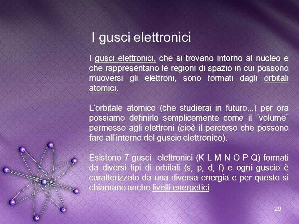 29 I gusci elettronici I gusci elettronici, che si trovano intorno al nucleo e che rappresentano le regioni di spazio in cui possono muoversi gli elet