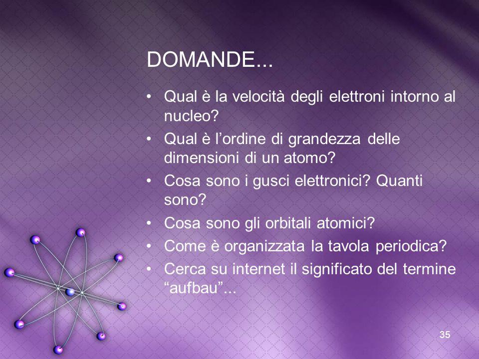 35 DOMANDE... Qual è la velocità degli elettroni intorno al nucleo? Qual è lordine di grandezza delle dimensioni di un atomo? Cosa sono i gusci elettr