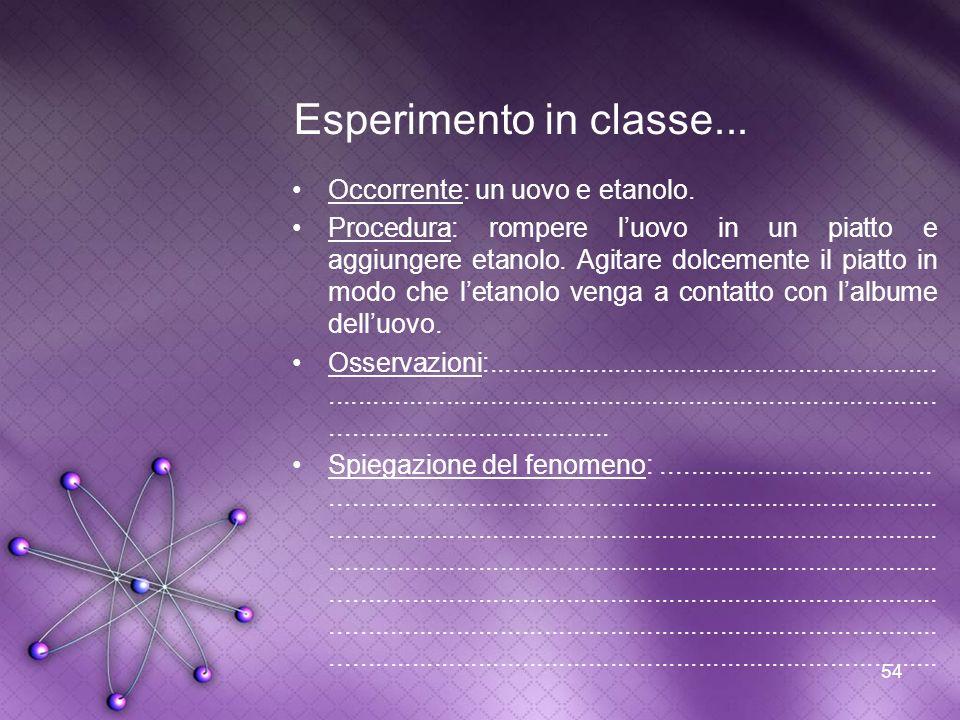 54 Esperimento in classe... Occorrente: un uovo e etanolo. Procedura: rompere luovo in un piatto e aggiungere etanolo. Agitare dolcemente il piatto in