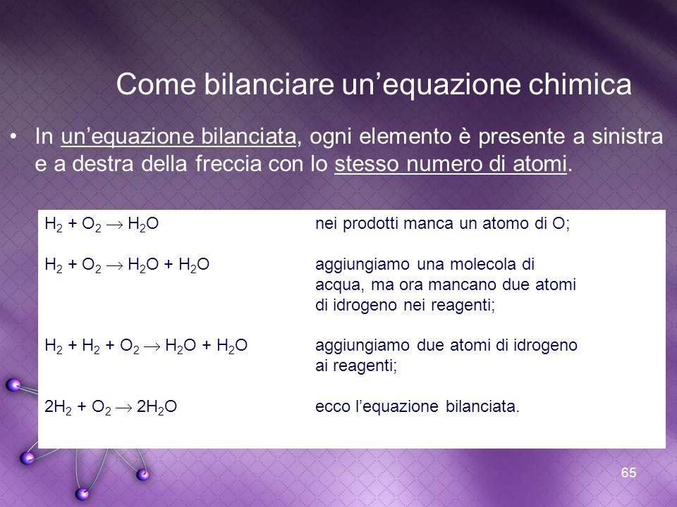 65 Come bilanciare unequazione chimica In unequazione bilanciata, ogni elemento è presente a sinistra e a destra della freccia con lo stesso numero di