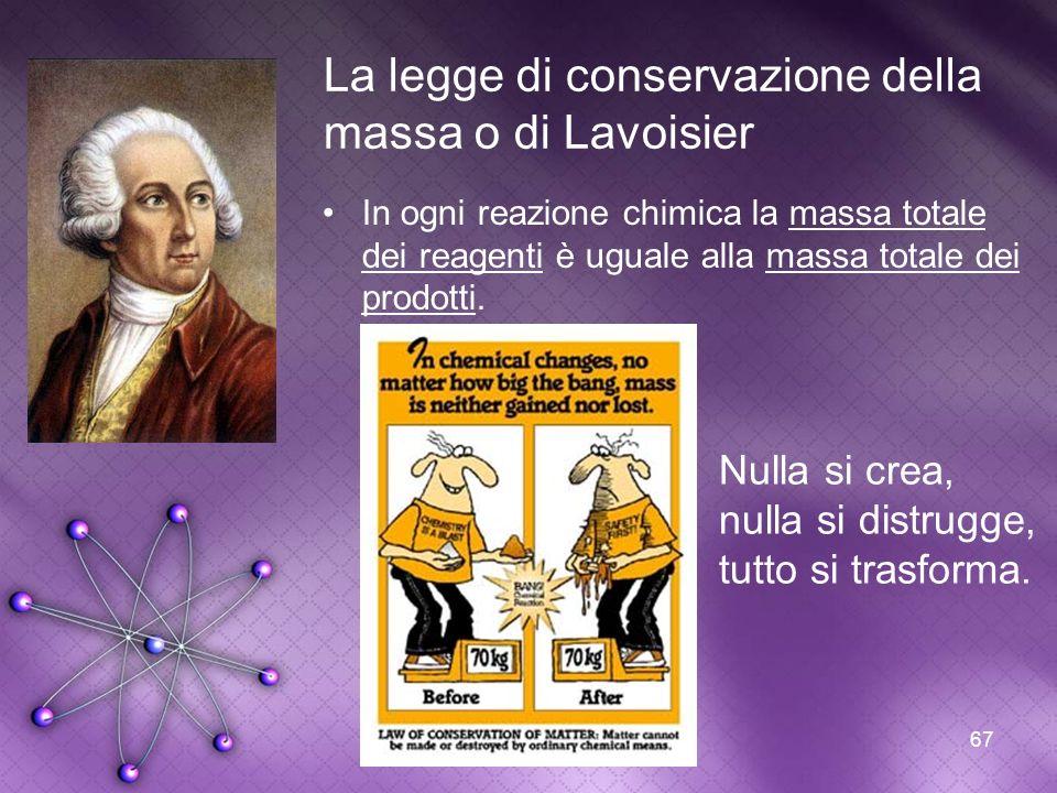 67 La legge di conservazione della massa o di Lavoisier In ogni reazione chimica la massa totale dei reagenti è uguale alla massa totale dei prodotti.