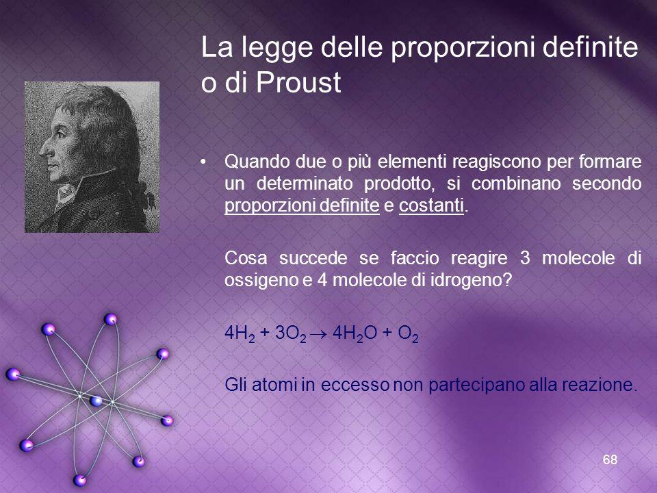 68 La legge delle proporzioni definite o di Proust Quando due o più elementi reagiscono per formare un determinato prodotto, si combinano secondo prop