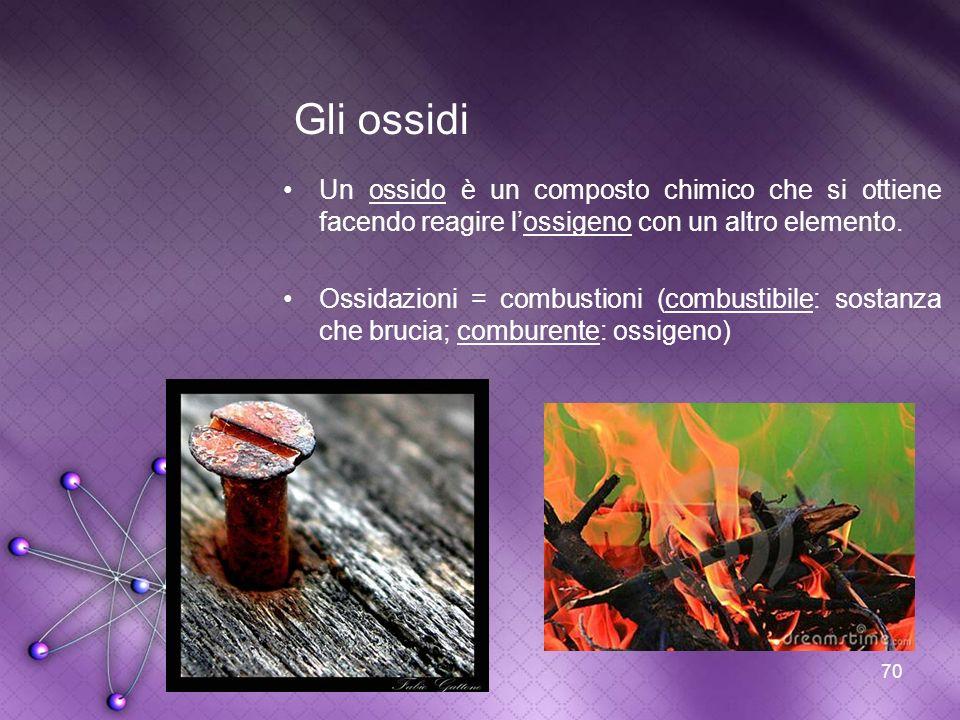 70 Gli ossidi Un ossido è un composto chimico che si ottiene facendo reagire lossigeno con un altro elemento. Ossidazioni = combustioni (combustibile: