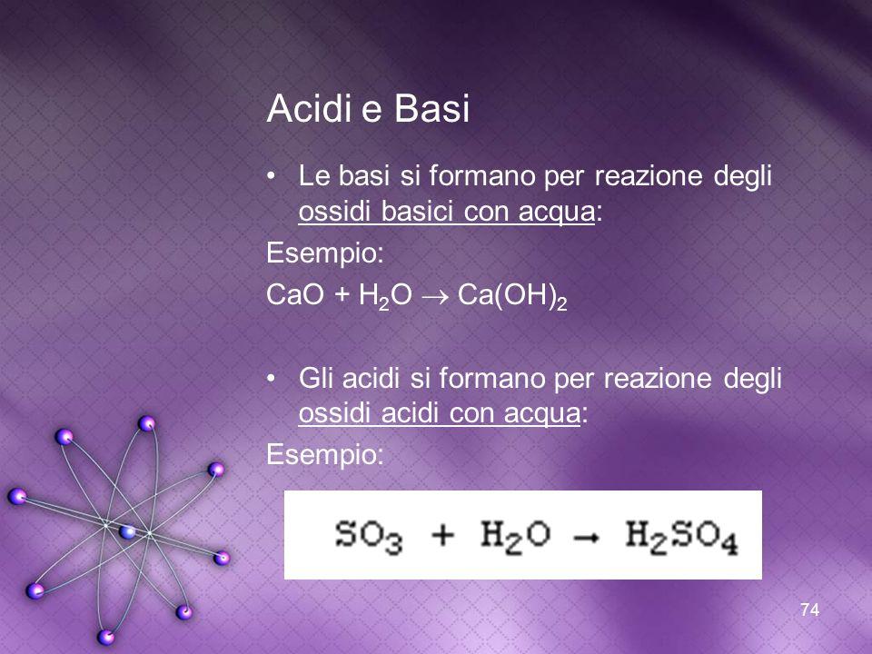 74 Acidi e Basi Le basi si formano per reazione degli ossidi basici con acqua: Esempio: CaO + H 2 O Ca(OH) 2 Gli acidi si formano per reazione degli o