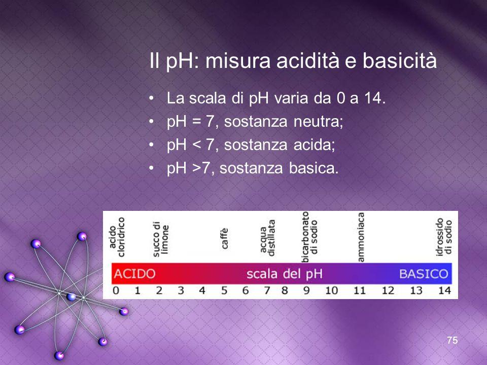75 Il pH: misura acidità e basicità La scala di pH varia da 0 a 14. pH = 7, sostanza neutra; pH < 7, sostanza acida; pH >7, sostanza basica.