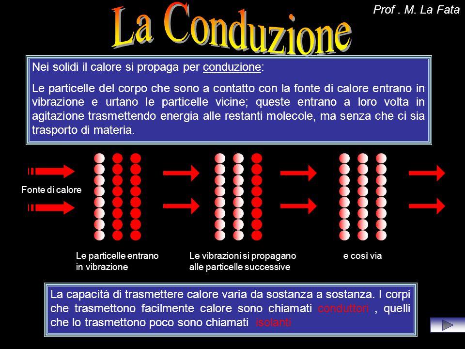 Nei solidi il calore si propaga per conduzione: Le particelle del corpo che sono a contatto con la fonte di calore entrano in vibrazione e urtano le p